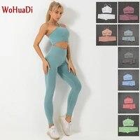 wohuadi 2021 yoga set women fitness suit gym clothing sports bra seamless crop tank top high waist leggings sportswear tracksuit