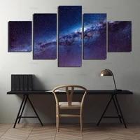 Tableau modulaire Art mural mode decoration de la maison 5 panneaux paysage de galaxie toile peinture a lhuile pour salon impression moderne