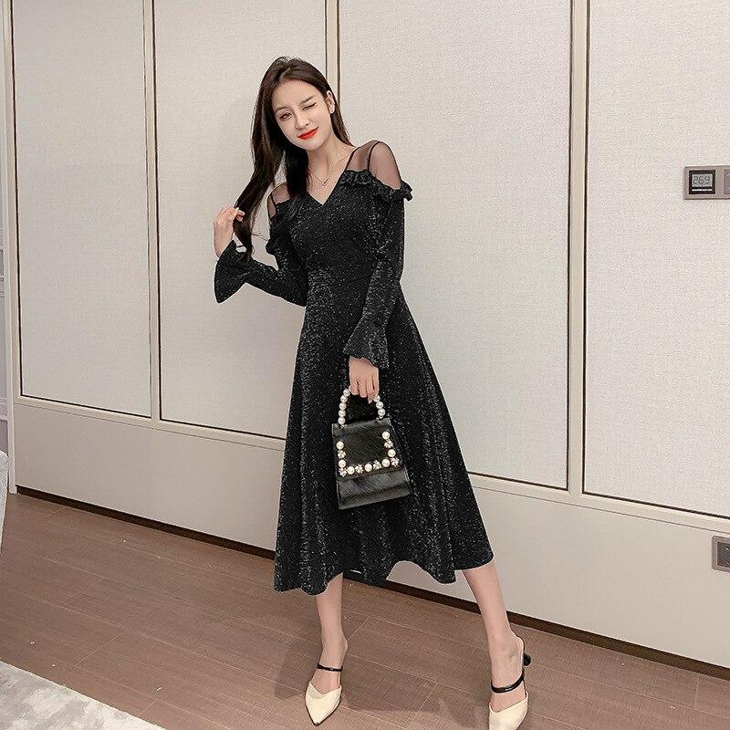 Malha retalhos vestido de veludo de ouro senhoras manga longa preto vestido de lantejoulas feminino espartilho macio streetwear inverno vestido vintage