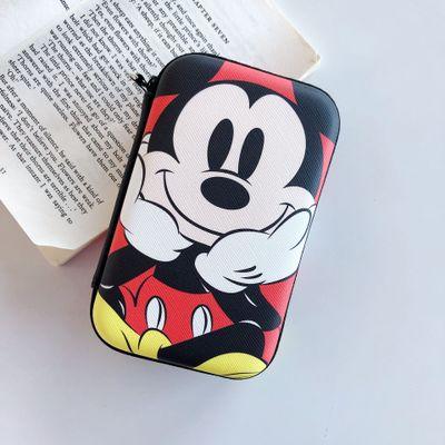Nueva caricatura de Mickey minnie moneda monedero niño niña monedero bolso de almacenamiento de casco cargador cable de datos caja de almacenamiento