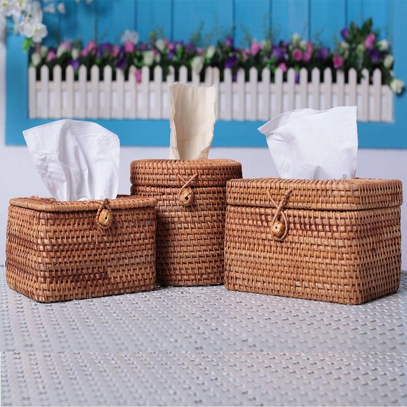 Rattan Weaving Tissue Box Napkin Tray Household Living Room Table Decoration Paper Towel Tube
