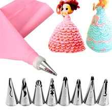 10 Pcs/Set Baby Dress Nozzles Stainless Steel Icing Piping Nozzles Tips Pastry Tips Wedding Cake Dec