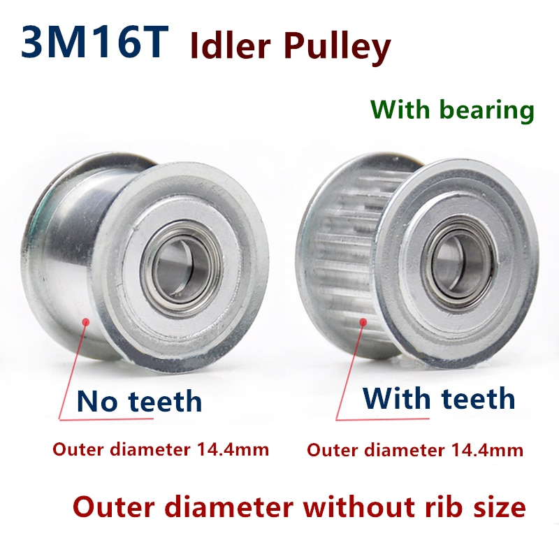 Polea síncrona de 16 dientes 3M, rueda tensora con orificio de 3/4/5mm con guía de rodamiento, polea reguladora HTD3M 16 dientes 16 T