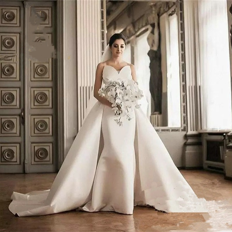 Get Vintage White Mermaid Wedding Dress With Detachable Train Sweetheart Long Simple Satin Bridal Gowns Vestidos De Novia 2021