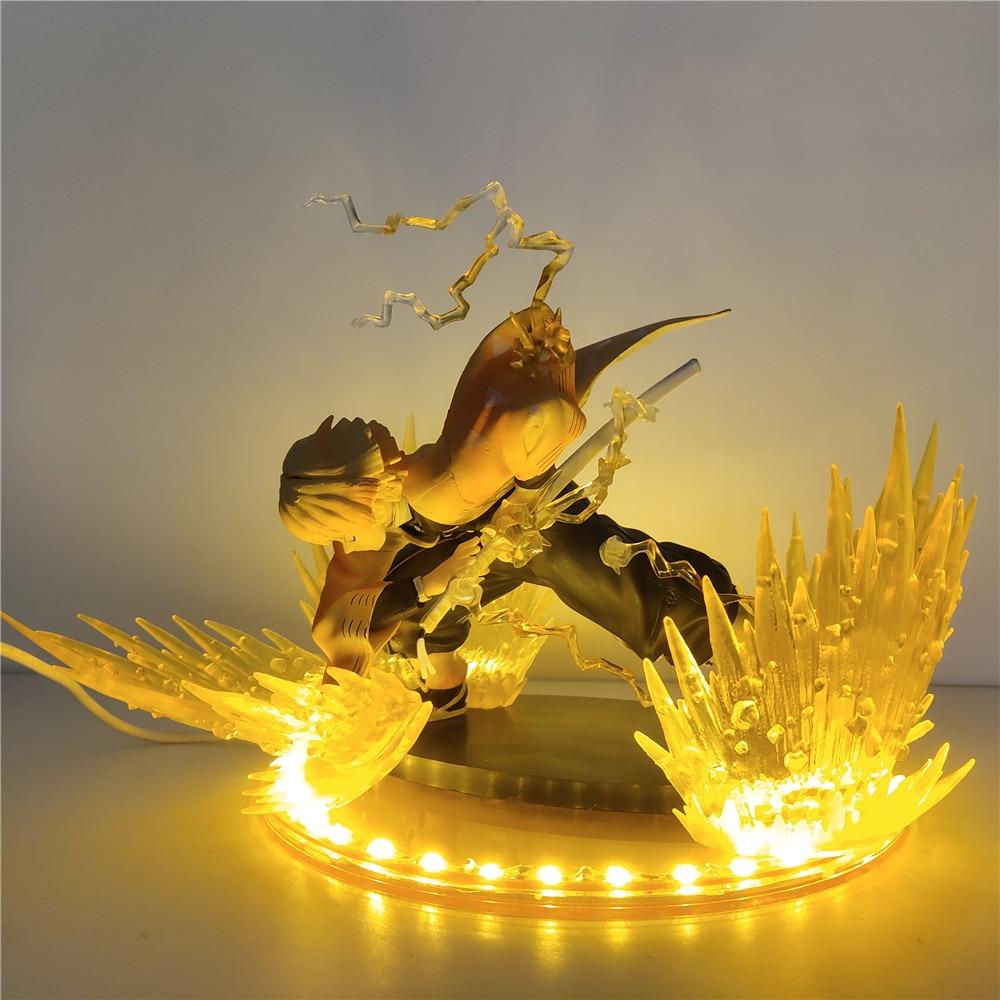 شيطان القاتل Zenitsu لتقوم بها بنفسك مجموعة شخصيات كرتونية عمل Kimetsu لا Yaiba LED اللعب البلاستيكية شيطاني جمع مصباح تمثال فلاش ألعاب الدمى