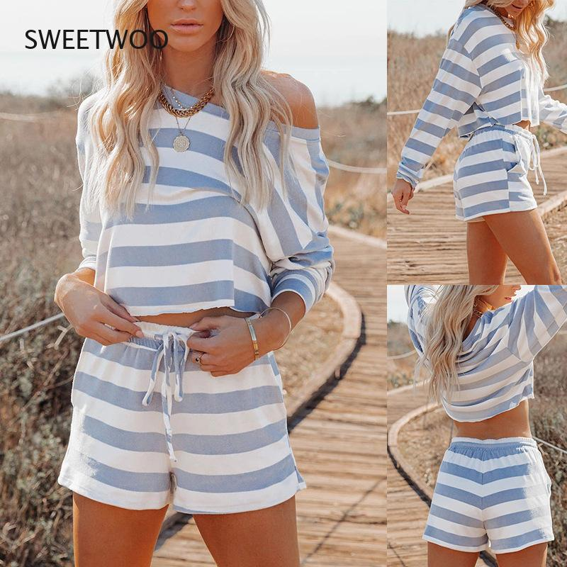 2021 Spring and Summer New Striped Printing Round Neck Long-Sleeved Casual Suit Home Wear Pajamas Women