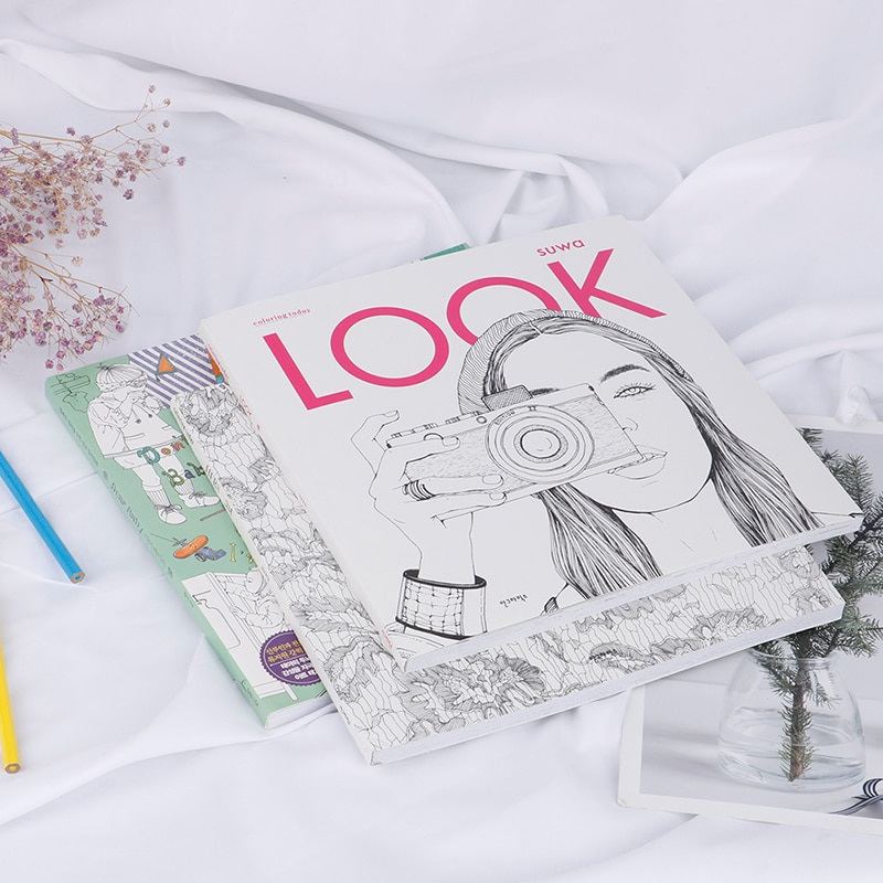 96pages Fashion LOOK Coloring Books For Adult Children Girls Antistress Art Drawing Painting Secret Garden Colouring Book Libros