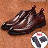 Męskie skórzane buty strój biznesowy garnitur buty męskie marki Bullock prawdziwej skóry czarne koronki ślubne męskie buty Phenkang 2020