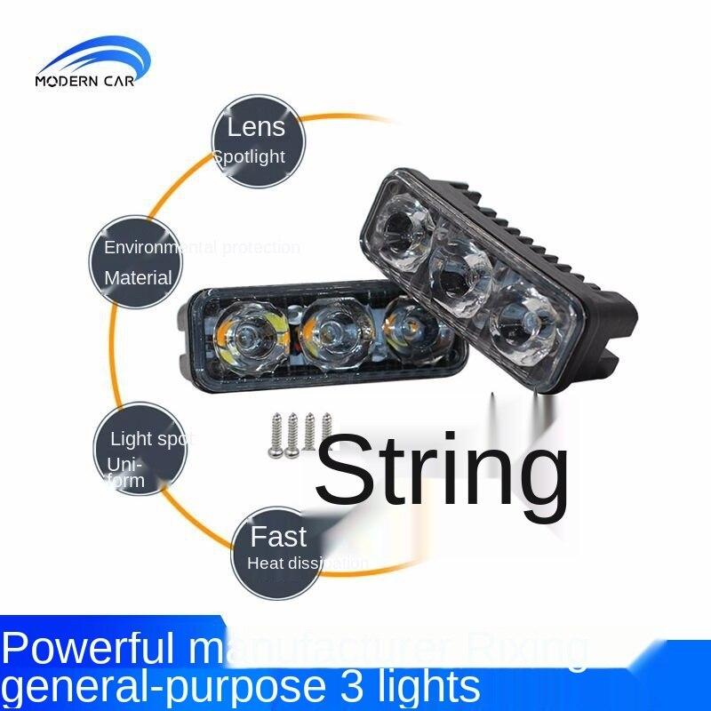 Автомобильные светодиодсветодиодный дневные ходовые огни с высокой яркостью, 3 лампы, двухцветные поворотные сигналы, средний сетчатый све...