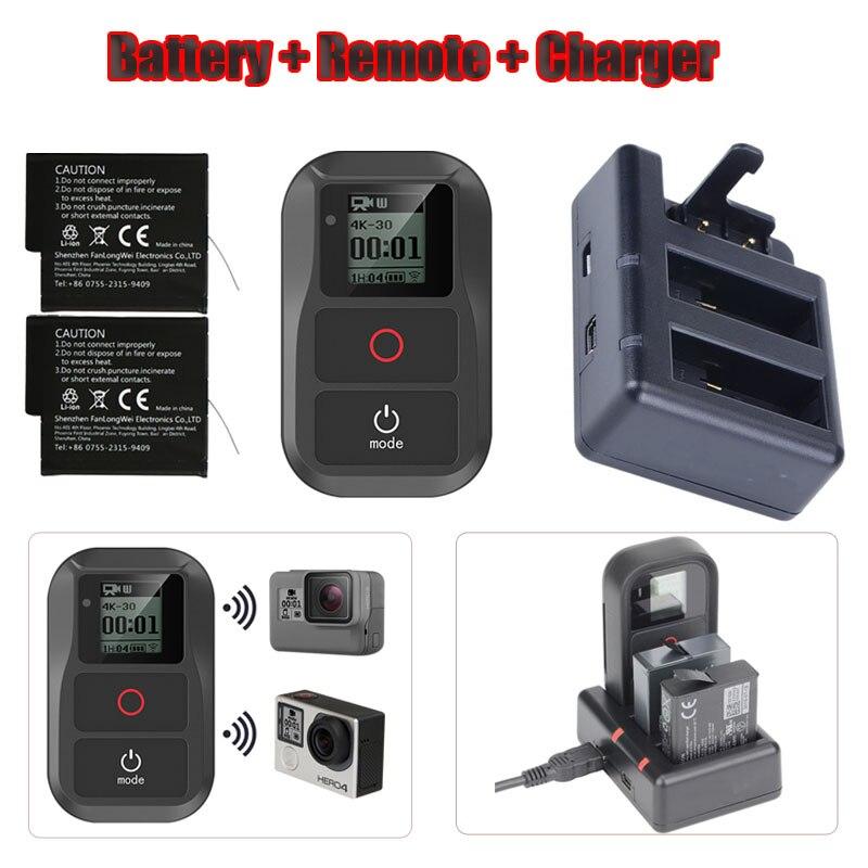 Nouveau 3 en 1 pour GoPro Hero 6 7 8 batterie + 3-Way chargeur à distance + Hero 6 7 5 Smart étanche Wifi télécommande pour GoPro accessoire
