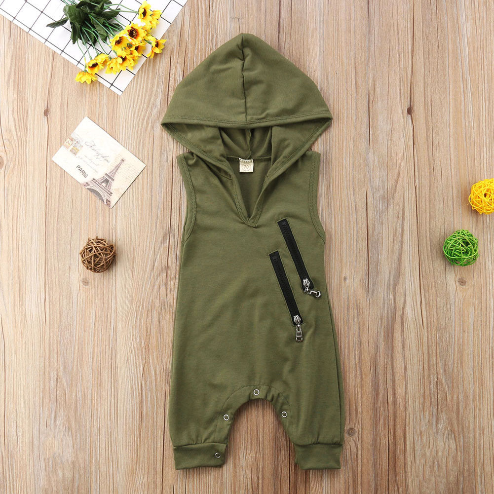 0-24M Summer  Toddler ClothingBaby Boy Hooded Newborn Rompers Baby Camouflage Print Sleeveless Zip Jumpsuits Fashion