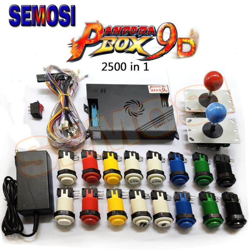 Original Pandora Box 9 9D DIY Kit 1500/2500 In 1 Games Board PCB with Happ Style Arcade Push Button 2 Player Joysticks