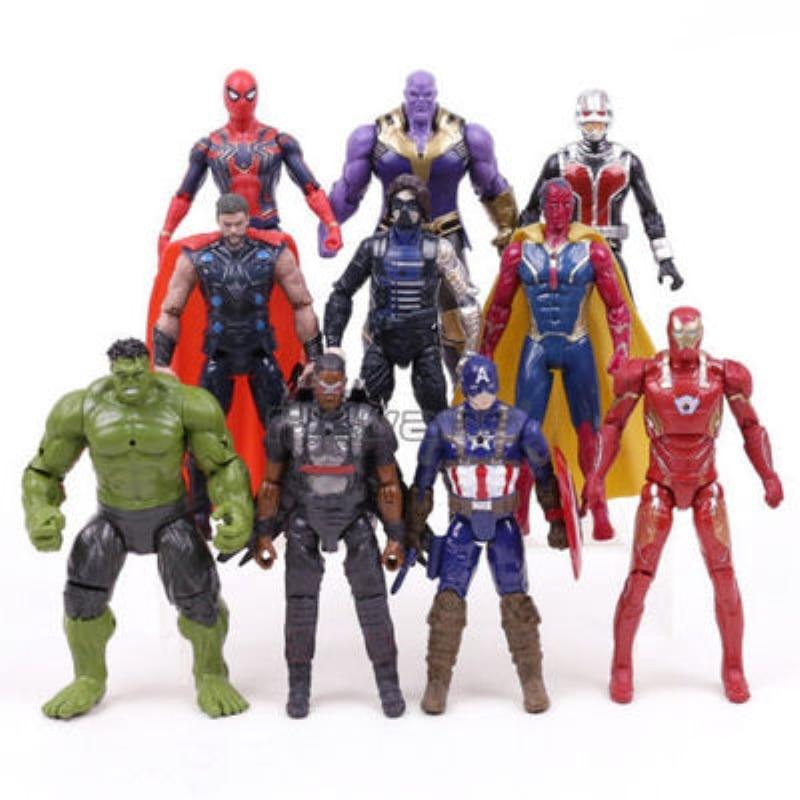 AliExpress - Christmas gift Marvel Avengers 3 Black Panther Action Figures Toys Set Hulk Captain America Spiderman Thanos Iron Man Hulkbuster