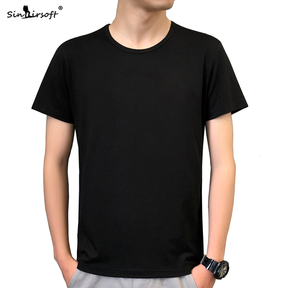 Novedosa Camiseta de cuello redondo holgado de verano a la moda de alta calidad para hombre, camiseta informal en blanco y negro para hombre
