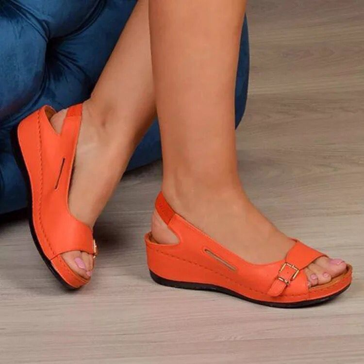 Sandalias mujer 2021 Female Wedge Heels Shoes Women Summer Comfortable Sandals Slip-on Flat Sandals