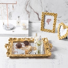 Resin Mirror Trays European Vintage Cake Trays Cupcake Plate Makeup Organizer Storage Box Glass Storage Tray Wedding Party Tool