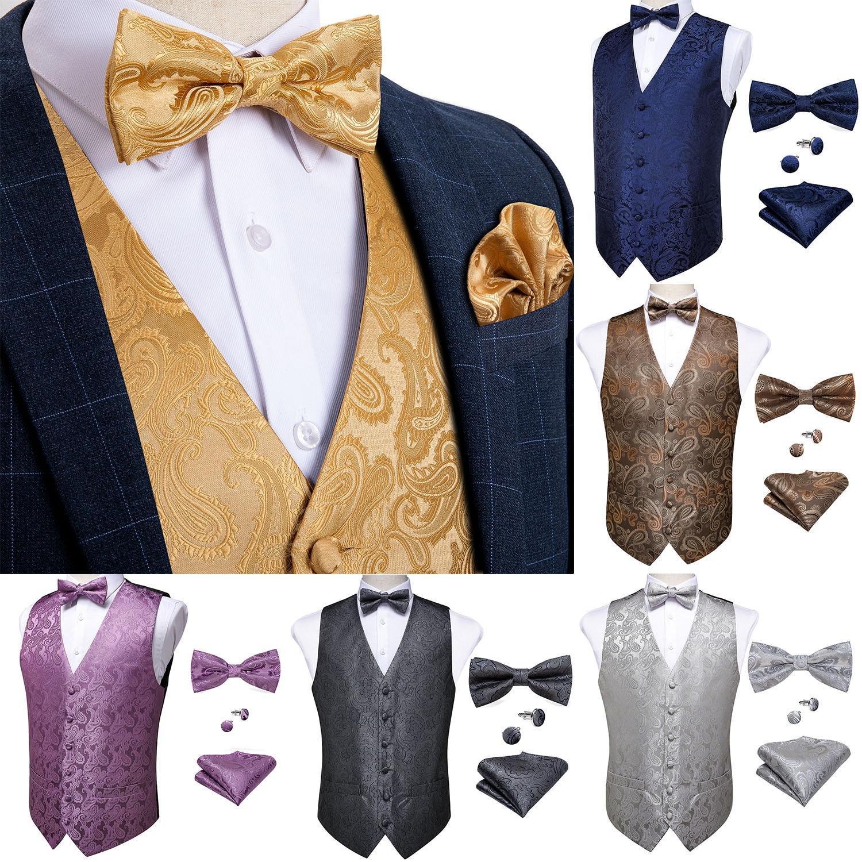 Мужской классический жилет с узором пейсли, золотистый Шелковый жилет с галстуком-бабочкой и запонками, вечерние жилетки для свадьбы