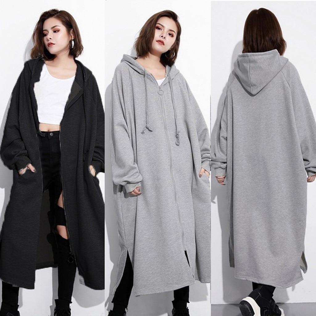 Abrigo largo de gran tamaño chaqueta con capucha suelta chaqueta cremallera prendas de vestir para exteriores mantener caliente chaqueta de talla grande Pullover sudaderas