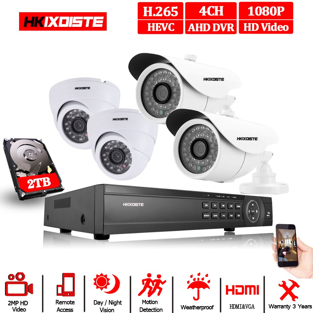 CCTV Sistema di Telecamere DVR 5MP 4CH Full HD 1080 P/2MP Interfaccia HDMI 2PCS Indoor Mini macchina fotografica Della Cupola 2pcs outdoor Pallottola del metallo-Casa Cam
