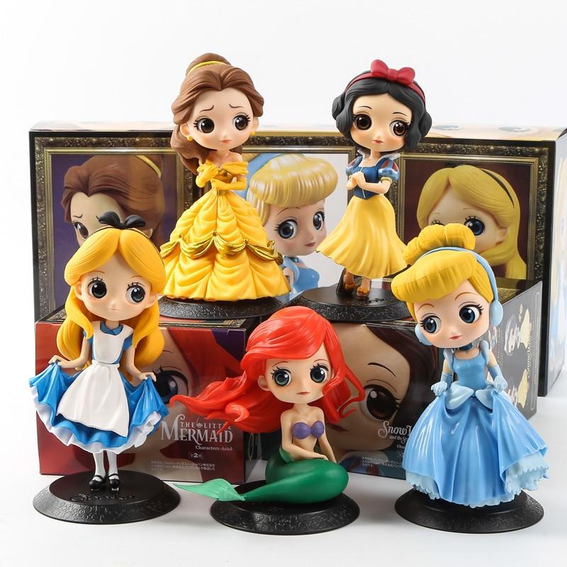 Figuras de Frozen de Disney, princesa Bella, Cenicienta, sirena, Blancanieves, Rapunzel, Anna, Elsa, modelos en PVC, regalo para niñas
