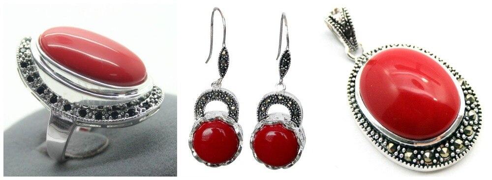Senhora vermelho esculpida laca marcasite 925 anel de prata esterlina (#7-10) brincos & pandent conjuntos de jóias