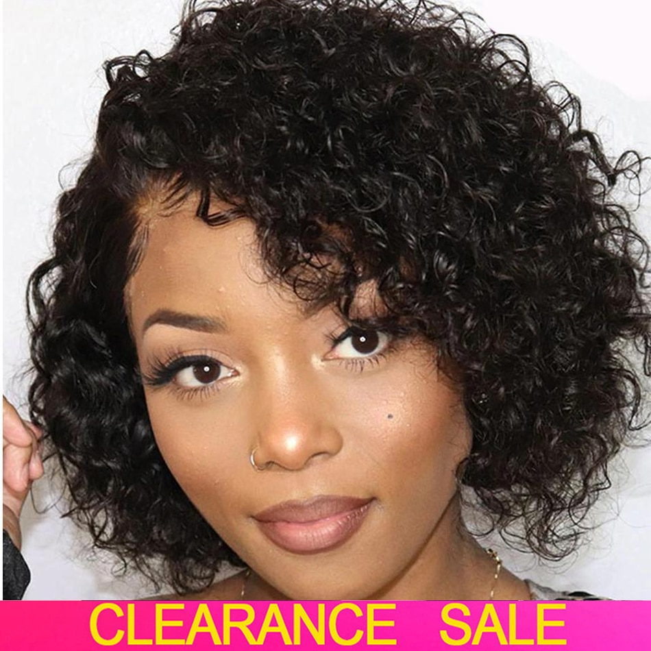 Short Kinky Curly Human Hair Wig Afro Short Wigs Pixie Cut Wig Human Hair No Lace Front Natural Brazilian Hair Wigs For Women