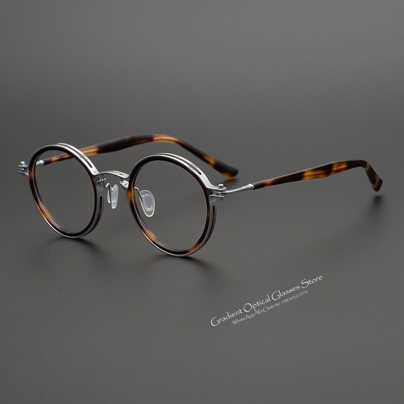 Japanese Handmade Eyewear Retro Round Glasses Frame For Men And Women Optics Titanium Ultra Light Prescription Myopia Eyeglasses