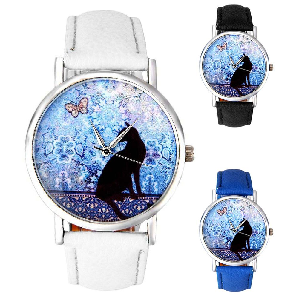 Women's Cats Silhouette Pattern Faux Leather Band Analog Quartz Wrist Watch Ladies Dress Watches Gift Luxury