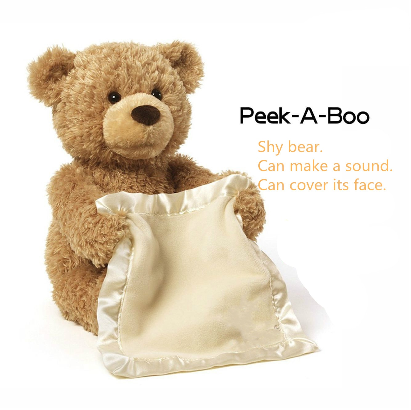 Children's Gifts Peep Bear Electric Facial Turning Shy Bear Plush Toy Talking Movable Bear Electric Plush Toy
