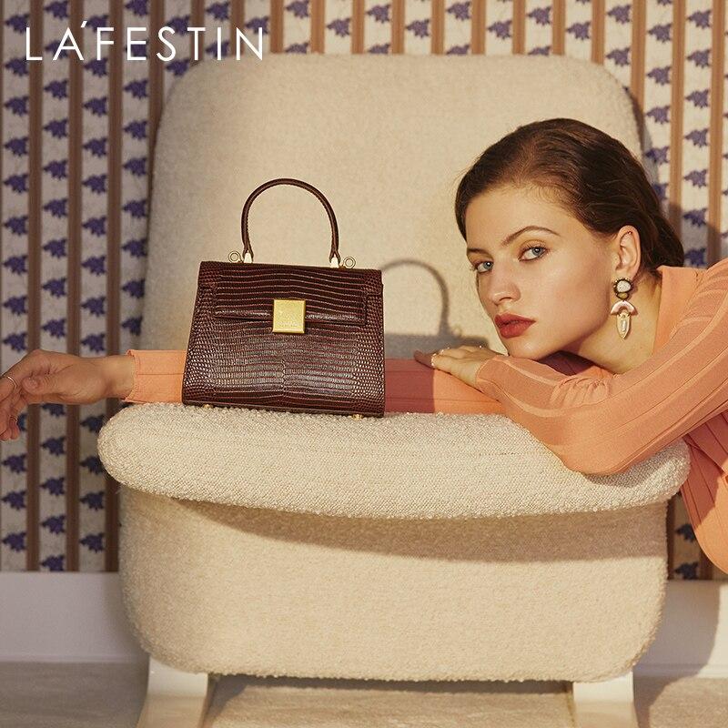 LA FESTIN  Handbag 2020 new trendy retro leather hand carry  bag female wild single shoulder messenger female bag High-quality