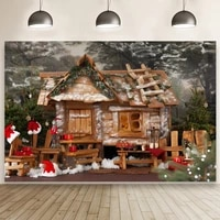 cabin in the forest silent snowy night backdrop kid christmas party photo studio background custom home decoration