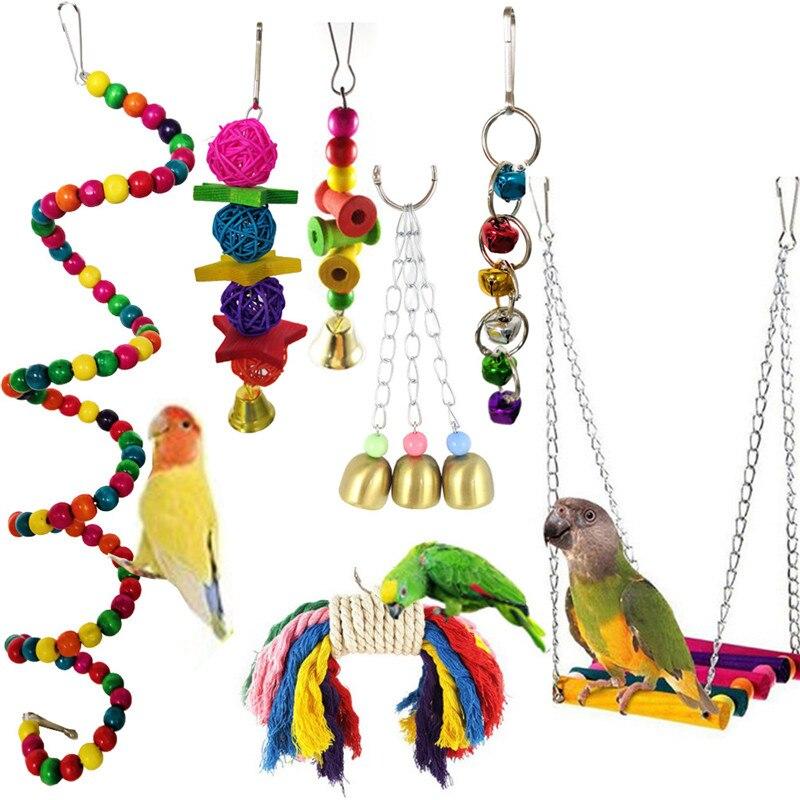Aapet, 7 unidades/juego, juguetes para loros, juguetes de pie para masticar, columpio, juguetes, bolas interactivas, juguetes vocales para pájaros, accesorios para mascotas