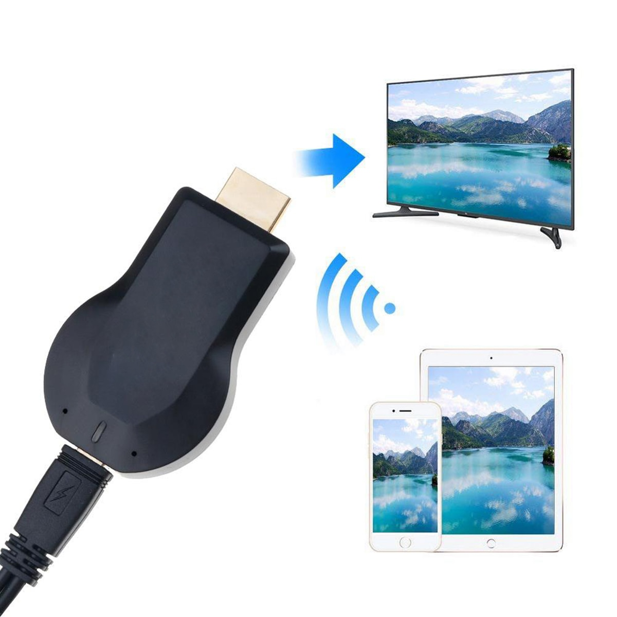 TV Stick Wireless Display Receiver TV Stick WiFi Dongle Screen Mirror TV Sticks 1080P HDMI 5V 2A Wit