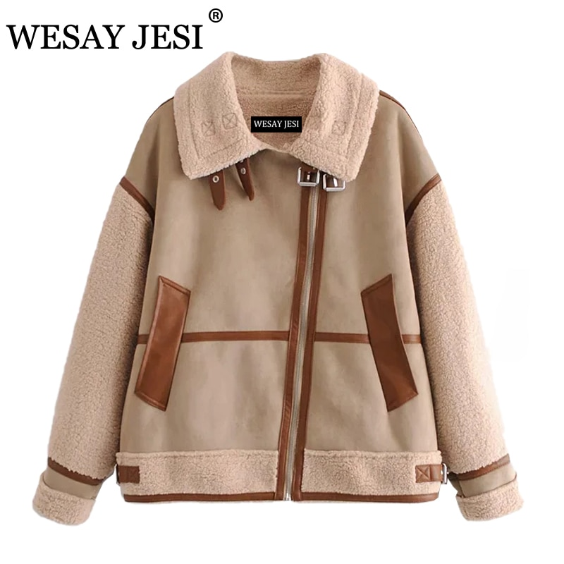 WESAY JESI Women New Khaki Patchwork Suede Lambswool Biker Jackets Coat Chic Loose Fur Faux Leather Oversize Top Female Overcoat