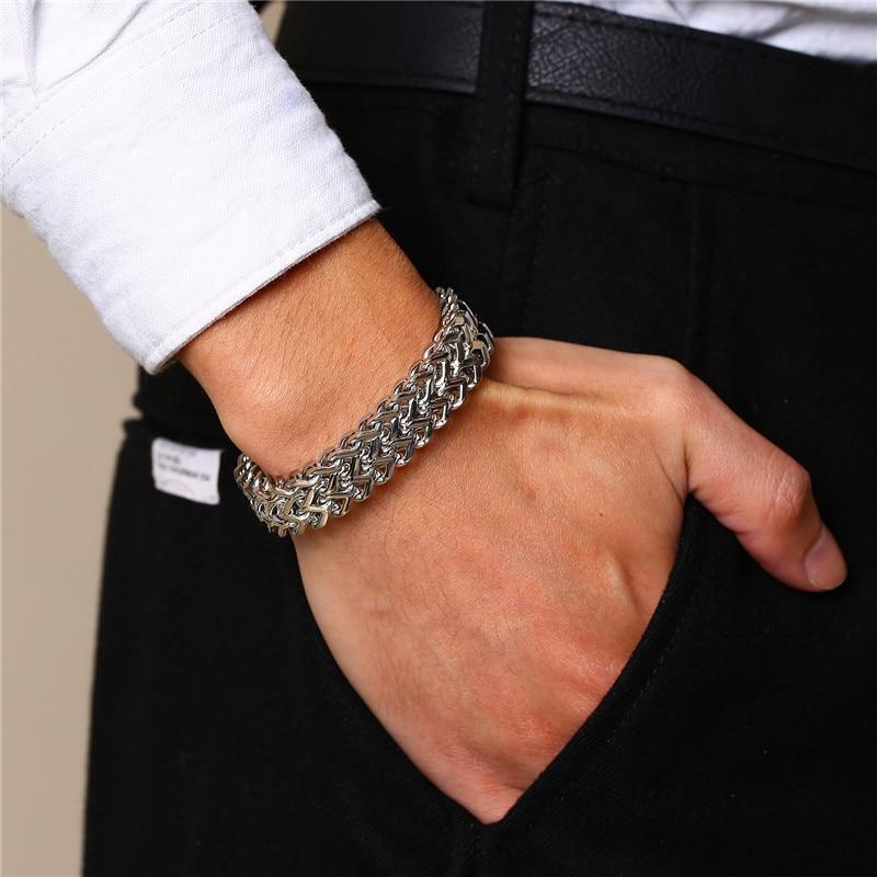 ZORCVENS Punk 12,5mm ola pulseras de cadena de eslabones para hombres color plata Acero inoxidable nunca se decolora pulsera Rock chulas de hombre Pulseira