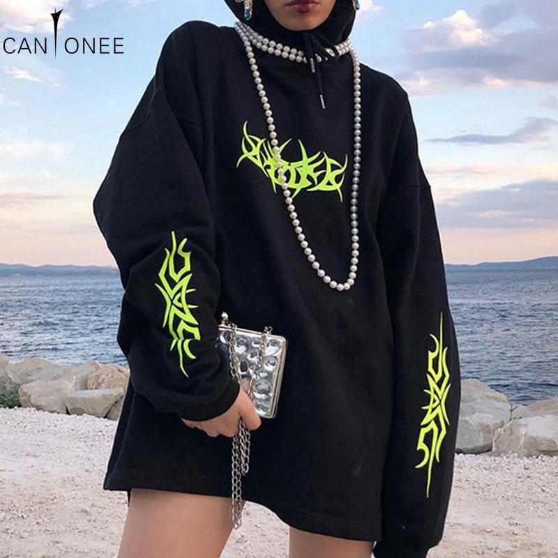 Harajaku 2020 Neue Schwarz Übergroßen Hoodie Sweatshirt Frauen Fluoreszierende Grün Drucken Lose Pullover Gothic Weibliche Casual Tops TH01