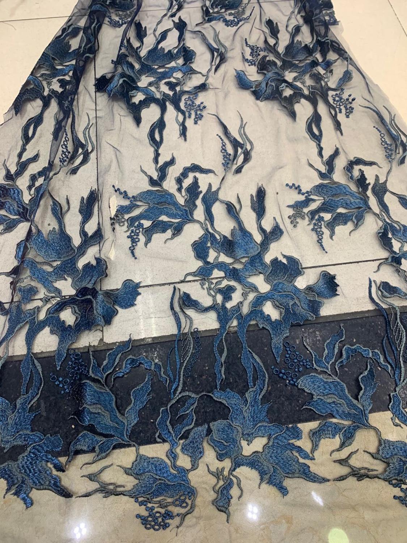 Stock 5 yardas/bolsa azul oscuro bordado patrón de moiré de moda tela delicada para la boda diseño de vestir LMC15 #