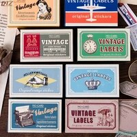 60pcspack new vintage diy diary sticker writable label album scrapbooking stickers handbook decoration