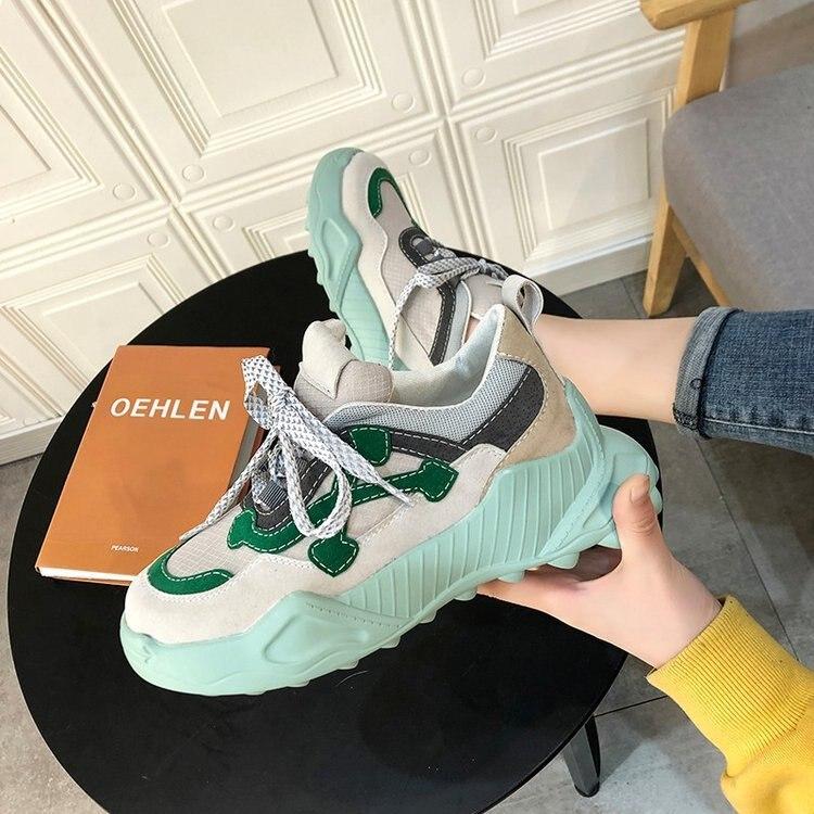 حذاء رياضي نسائي ، حذاء كاجوال جديد ، عصري ، منصة متناسقة ، موسم الربيع