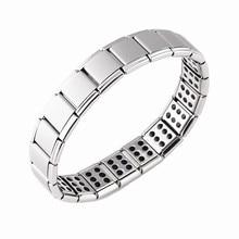 Joyería de mujer ensanchamiento elástico energía deportes magnético germanio brazalete con amuleto italiano moda Acero inoxidable regalos ST23