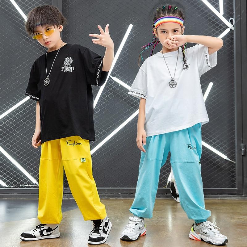 Chicos fresco hip hop ropa grande camiseta suelta pantalones niñas pantalones jogger...