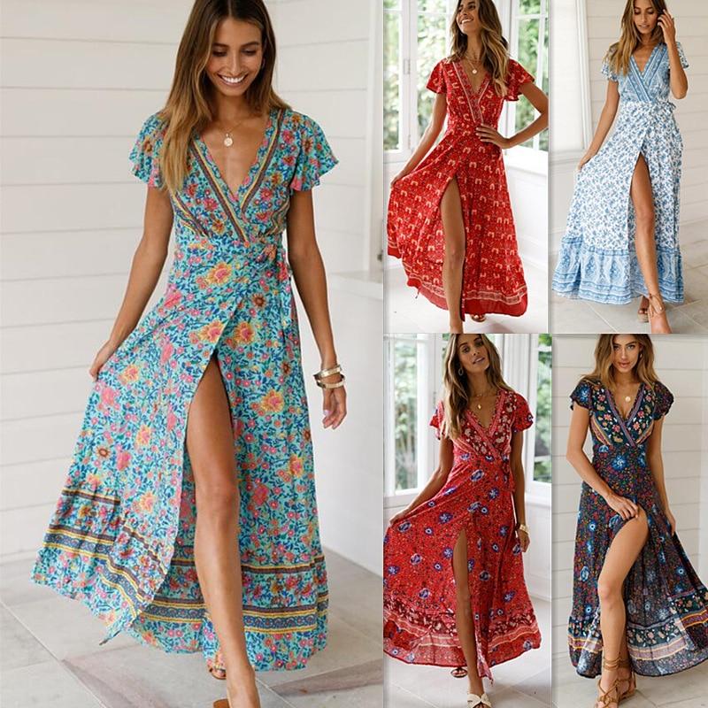 New Arrivals Amazon Summer Leisure Vacation Printed Dress Sexy Long Skirt Women