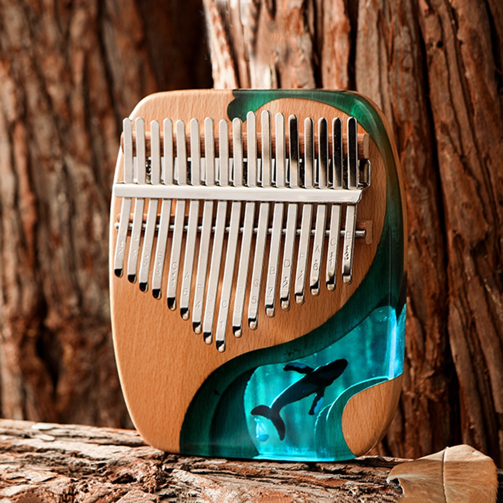 17 Keys Ocean Whale Kalimba Musical Instrument Piano Music Box Beech Thumb Vocalization Machine with Tuning Hammer