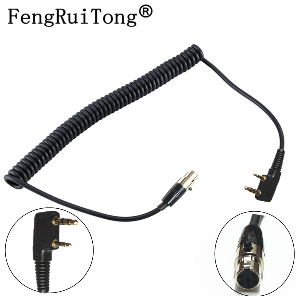 For 3M Peltor FLX2-36 to Kenwood 2 Pin Type Puxing WOUXUN Baofeng UV5R UV82 Downlead Cable CH-3 Headsets