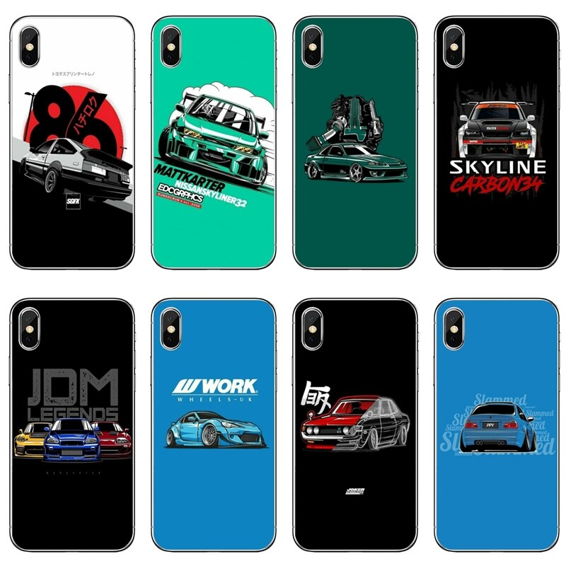 De moda deriva coches Auto JDM para OnePlus 3T 5T 6T LG G5 G6 G7 Q6 Q7 Q8 q9 V20 V30 X Power 2 3 K4 K8 K10 2017 cubierta caso