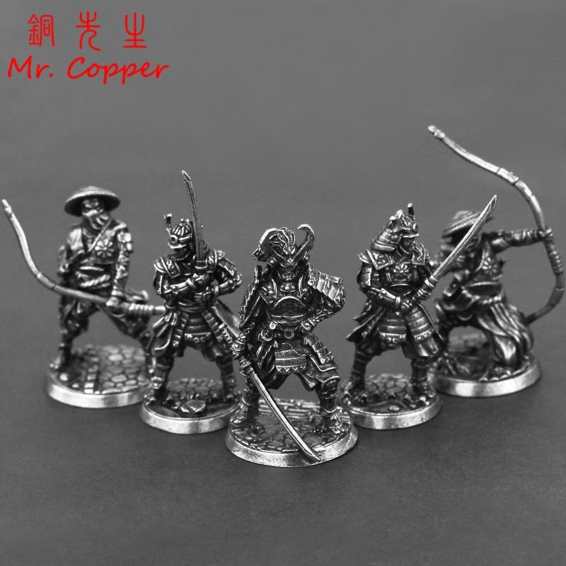White Copper Japanese Shogunate Samurai Figurines Miniatures Vintage Metal Soldiers Model Statue Desktop Toy Ornament Decoration