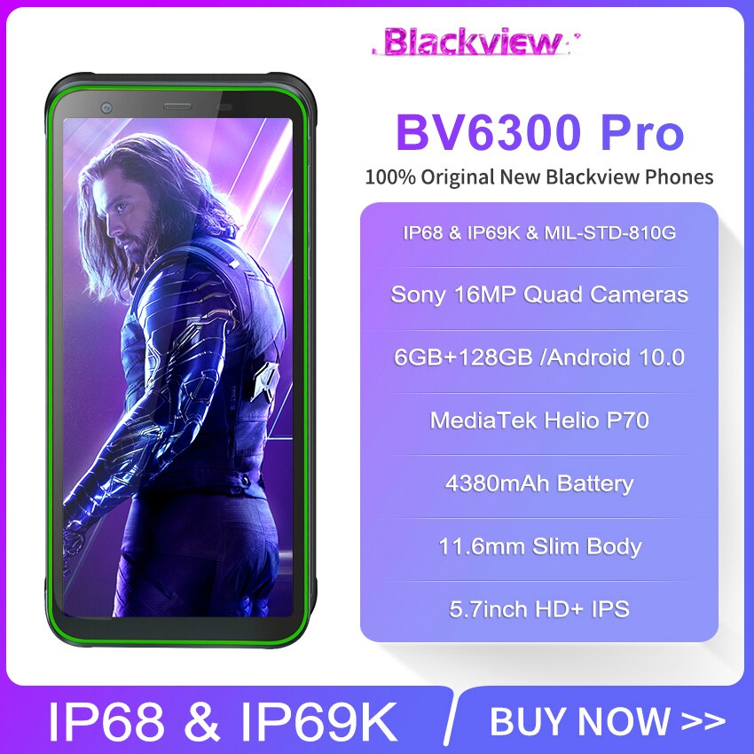 Blackview BV6300 Pro NFC 6GB +128GB IP68 Waterproof Mobile phone 5.7 Inch Octa Core Android 10.0 Rugged smartphone Quad Cameras enlarge