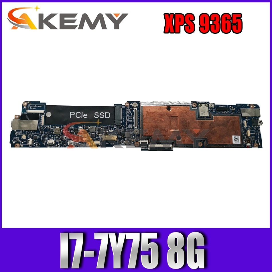 Akemy BRAND NEW I7-7Y75 8G FOR DELL XPS 9365 Laptop Motherboard BAZ80 LA-D781P CN-0386F4 386F4 Mainboard 100% tested