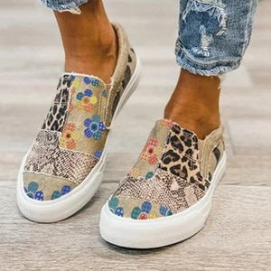 2021 Summer Women Shoes Patchwork Fashion Printed Leisure Women Canvas Flat Shoes Slip On Casual Shoes Flats Chaussure Femme