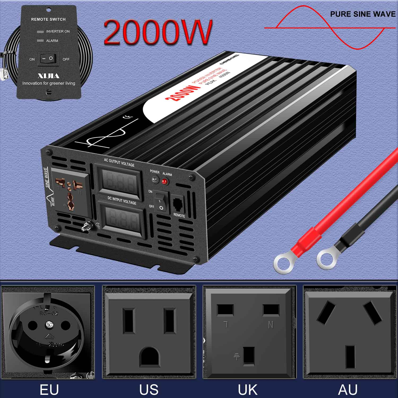 2000W Car power inverter 12v 220v pure sine wave convertor onduleur 24v 48v to 110v with remote control
